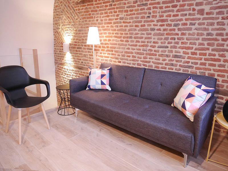 Salon d'un appartement rénové à Lille